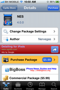 Cydia Purchase Screen