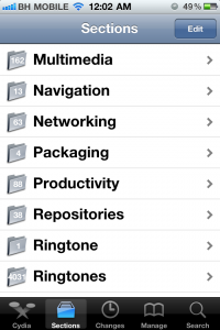 Cydia Section Tab