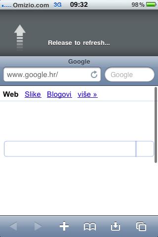 Pull to refresh Safari browser