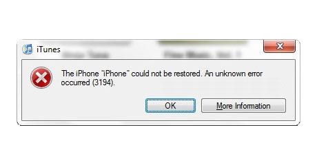 Как сделать ошибка 3194 на айфоне