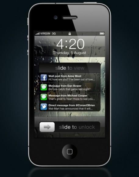 iOS 5 Lock Screen sa Obavjestima