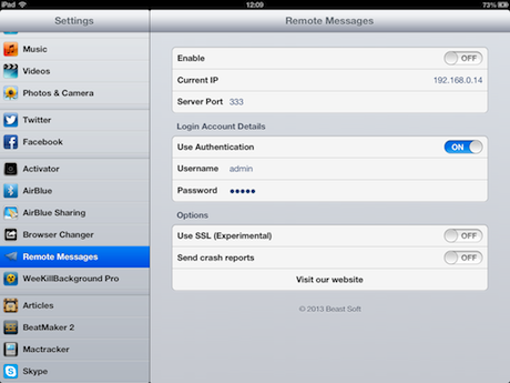 Remote Messages Settings