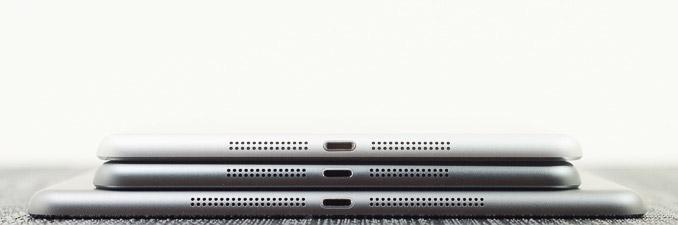 Odozgo na dole: iPad mini, iPad mini s Retina zaslnom, iPad Air