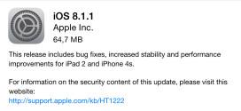 Izbačen iOS 8.1.1